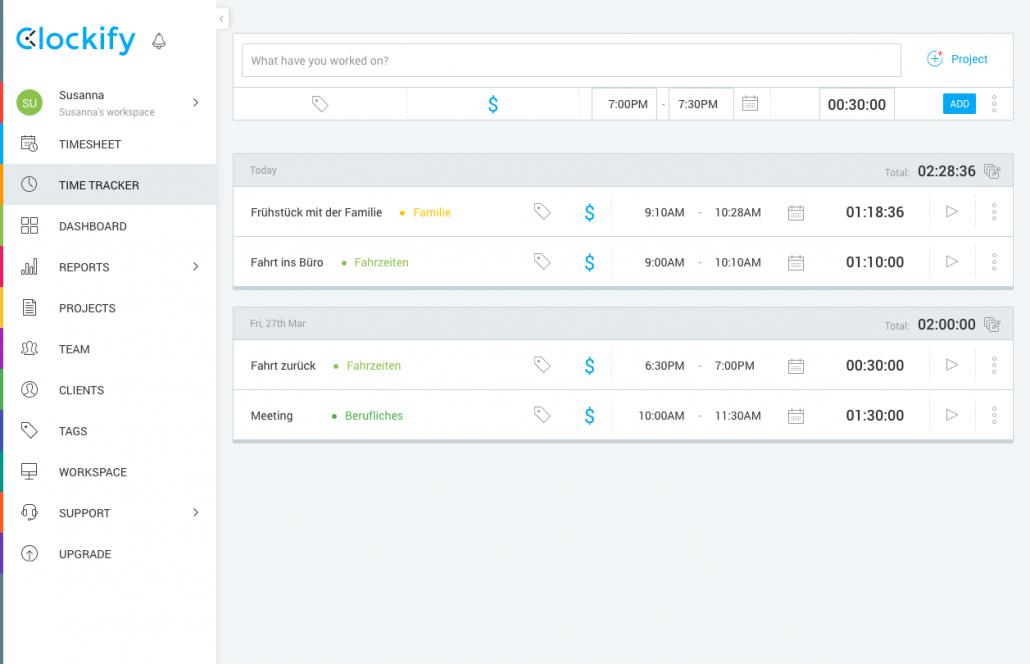 Tracking von Tasks