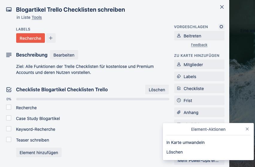 Trello Checkliste anlegen